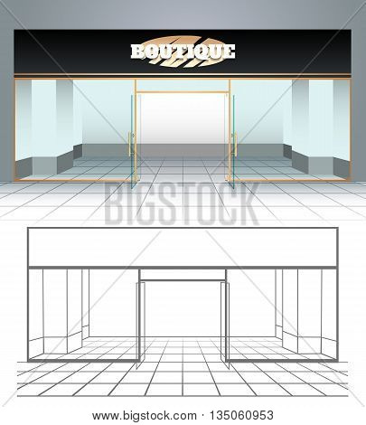 Shop or boutique front view. Vector illustration
