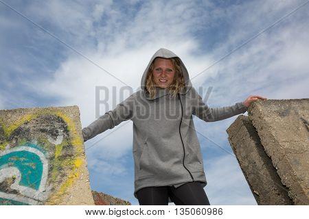 Woman Posing Under Blue Sky, Dance Style