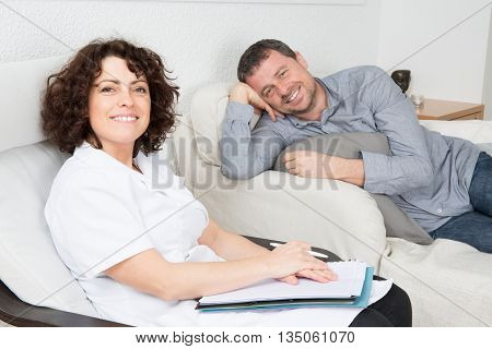 Image Of Happy Man During Psychological Therapy