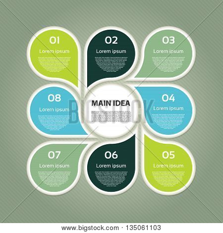 Vector circle infographic. Template for cycle diagram graph presentation and round chart. Business concept with 8 options parts steps or processes. Abstract background.