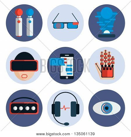 Virtual reality flat icon set. Vector illustration, EPS 10