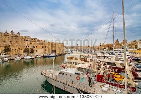 Valletta, Malta - May 7, 2016: In Bay The Grand Harbor