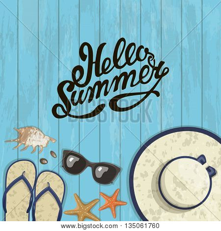 Banner summer composition of inscription, sunglasses, pair of flip-flops, starfish, shell and hat . Vector illustration