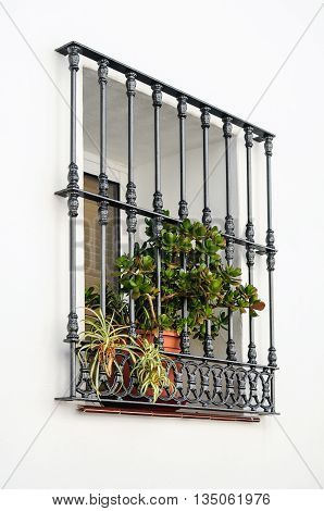 Window Frame On The Whitewashed Wall, Andalusia, Spain