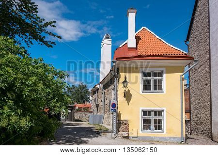 Medieval street in old town of Tallinn. Estonia Europe