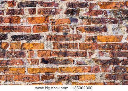 texture of the old destroyed brick wall for a rough vintage background or for ancient wallpaper