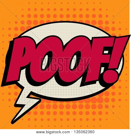 Poof comic book bubble text retro style