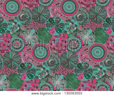 Seamless pattern with hand drawn fancy circle. Colorful beautiful endless background with decorative ethnic elements.