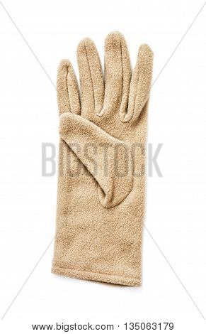 Women's textile glove on the white background. Ladies fashion. Stylish clothes.