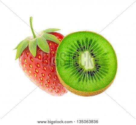 Isolated Kiwi And Strawberry