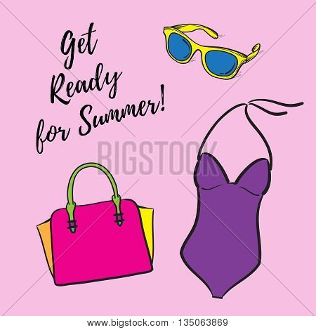 Get Ready For Summer vector illustration hand drawn. Fashion set vector illustration hand drawn silhouette icons.