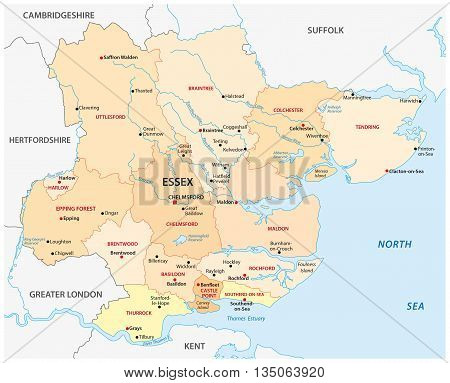 vector map of the administrative county essex, england
