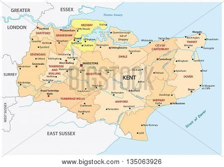 vector administrative map of the county Kent, england