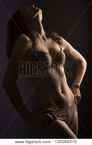 Girl in brown lace lingerie standing in the shadows his head thrown back