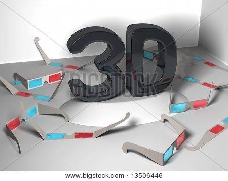 3D design in the center with many stereoscopic glasses