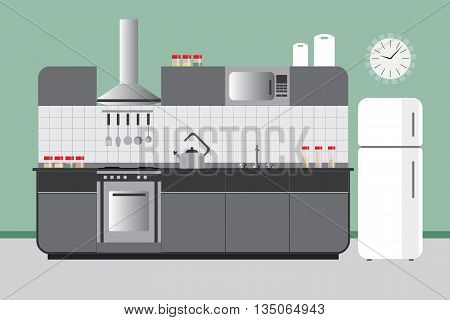 Kitchen Elevation with Cabinets Fridge Hood Microvawe. Flat Vector Interior Design in Green Grey and White Color Set