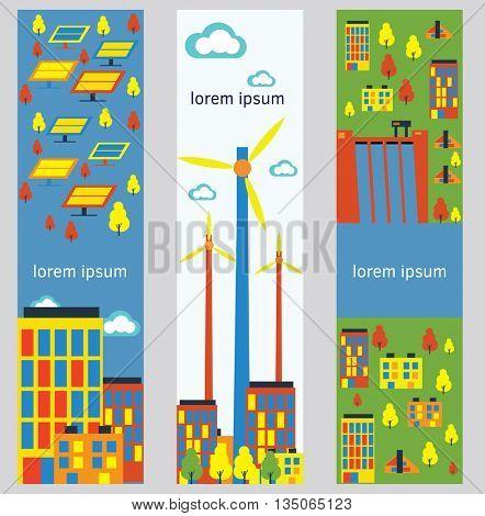 Industrial factory buildings vertical banners.