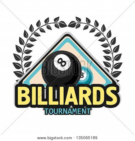 Vector Design Billiards, pool and snooker sport icon. Poolroom emblems design with balls, laurel wreath. Vector Illustration. Isolated on White.