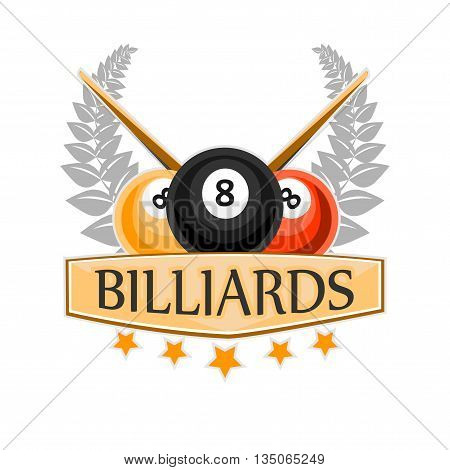 Vector Design Billiards, pool and snooker sport icon. Poolroom emblems design with balls. Vector Illustration. Isolated on White.