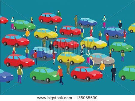 Car traffic jam and people on the road. Vectro illustration.