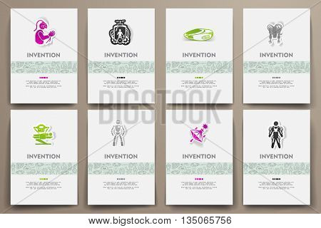 Corporate identity vector templates set with doodles invention theme. Target marketing concept