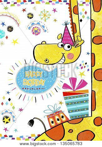 Giraffe with gifts.Happy Birthday Invitation.Birthday greeting card with gifts in bright colors.Birthday card.Party invitation.
