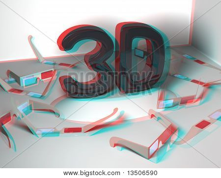 3D design with many stereoscopic glasses and a real stereoscopic effect