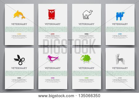 Corporate identity vector templates set with doodles veterinary theme. Target marketing concept