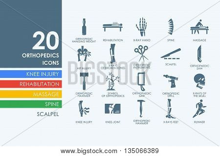 orthopedics vector set of modern simple icons
