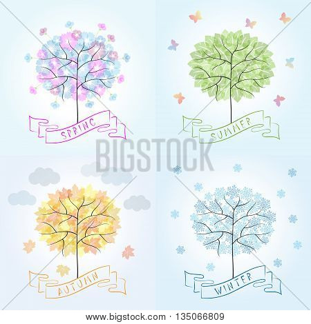 Tree in four seasons - spring summer autumn winter. Cartoon illustration representing the seasons cycle.