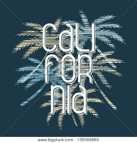 California typography poster. Concept in vintage style for print production. T-shirt fashion Design. Template for poster print banner flyer.