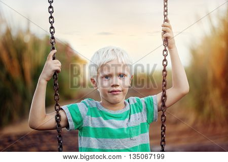 Childhood. Portrait of a positive boy (6 years) on a swing on a summer day .Outdoor, close up.