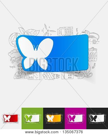 hand drawn simple elements with butterfly paper sticker shadow