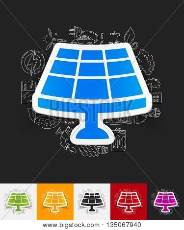 hand drawn simple elements with solar battery paper sticker shadow