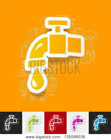 hand drawn simple elements with water tap paper sticker shadow
