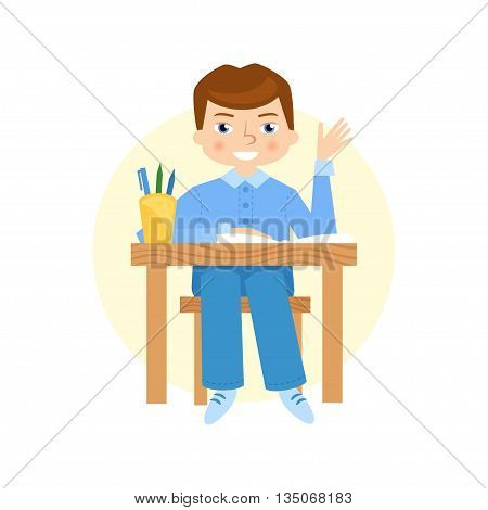 Schoolboy raising hand flat vector cartoon illustration. School