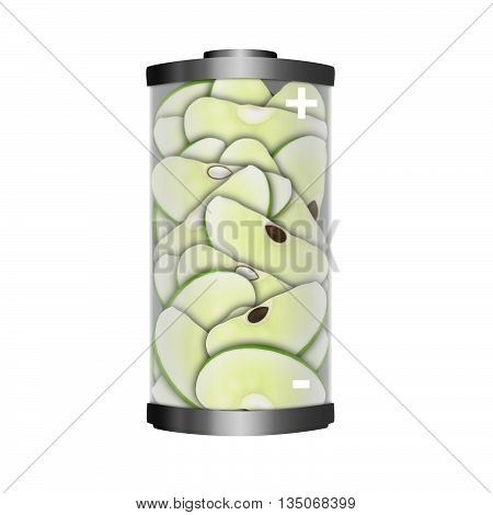 Conceptual image of the energy value of apples