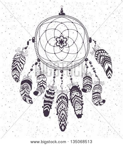 Native American Indian Talisman Dream Catcher with Feathers. Vector Ethnic Design, Boho Style.