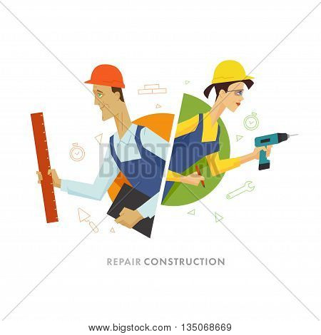 Worker male and female user symbol illustration. Flat vector illustration