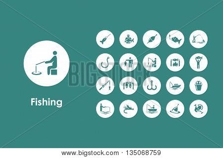 It is a set of fishing simple web icons