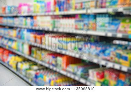 Supermarket store blur background. Shopping in the supermarket