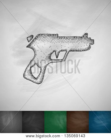 gun icon. Hand drawn vector illustration. Chalkboard Design