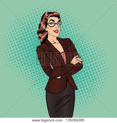 Confident Business Woman. Smiling Female Manager. Pop Art. Vector illustration