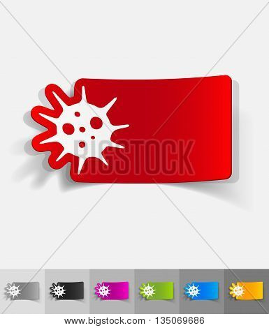 virus paper sticker with shadow. Vector illustration