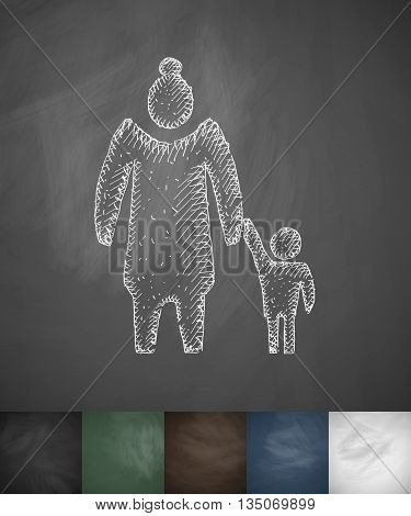 old woman and child icon. Hand drawn vector illustration. Chalkboard Design