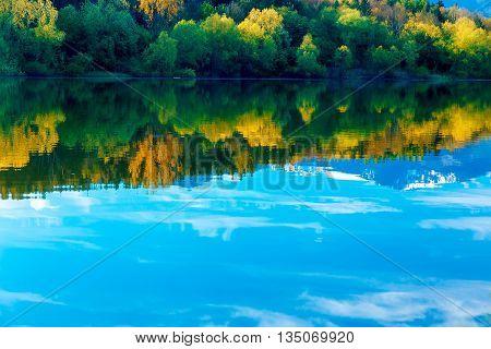 Beautiful Reflection, Tree And Sky In Lake. Slovakia Liptovska M