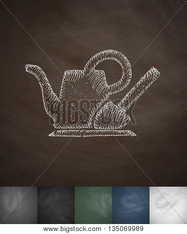 gardening Tools icon. Hand drawn vector illustration. Chalkboard Design