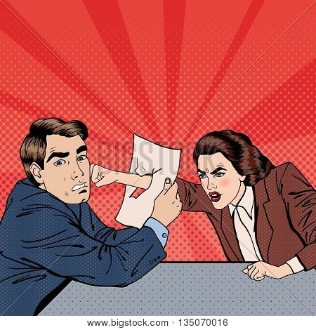 Conflict Between Businessman and Businesswoman. Disagreement on Business Negotiations. Pop Art. Vector illustration