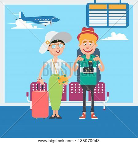 Happy Couple Waiting to Departure to the Vacation in Airport. Vector illustration