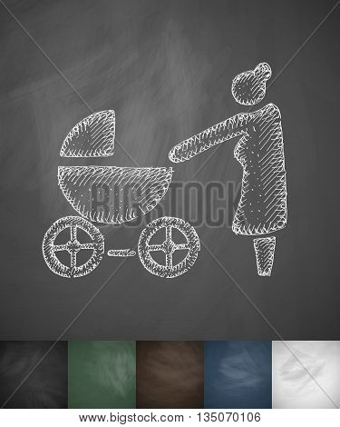 grandmother with stroller icon. Hand drawn vector illustration. Chalkboard Design